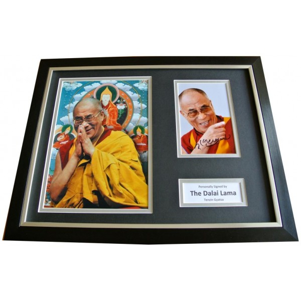 DALAI LAMA Signed FRAMED Photo Autograph 16x12 Display HOLY TENZIN GYATSO & COA     PERFECT GIFT