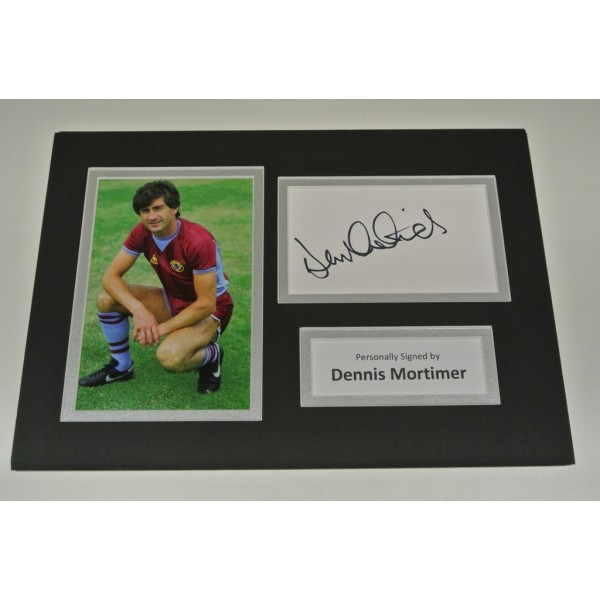 Dennis Mortimer Signed Autograph A4 photo mount display Aston Villa Football AFTAL COA SPORT Memorabilia PERFECT GIFT