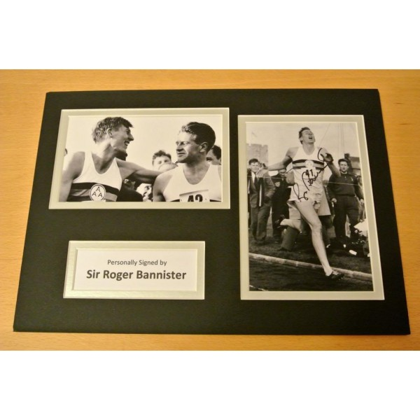 ROGER BANNISTER HAND SIGNED AUTOGRAPH A4 PHOTO DISPLAY & COA 4 MINUTE MILE
