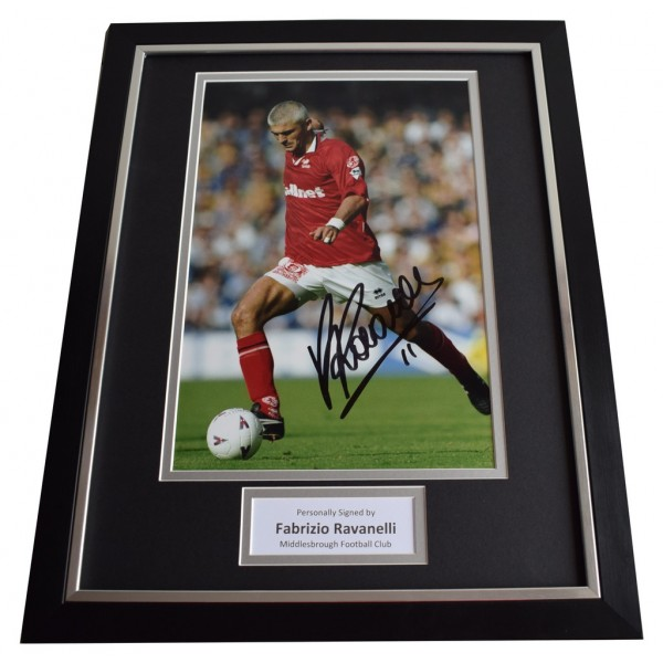 Fabrizio Ravanelli SIGNED FRAMED Photo Autograph 16x12 display Middlesbrough  Memorabilia  AFTAL & COA perfect gift