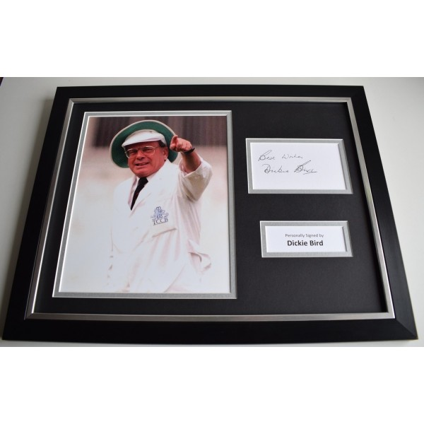 Dickie Bird SIGNED FRAMED Photo Autograph 16x12 display Cricket Umpire AFTAL & COA Memorabilia PERFECT GIFT