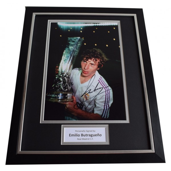 Emilio Butragueno SIGNED FRAMED Photo Autograph 16x12 display Real Madrid Memorabilia  AFTAL & COA perfect gift