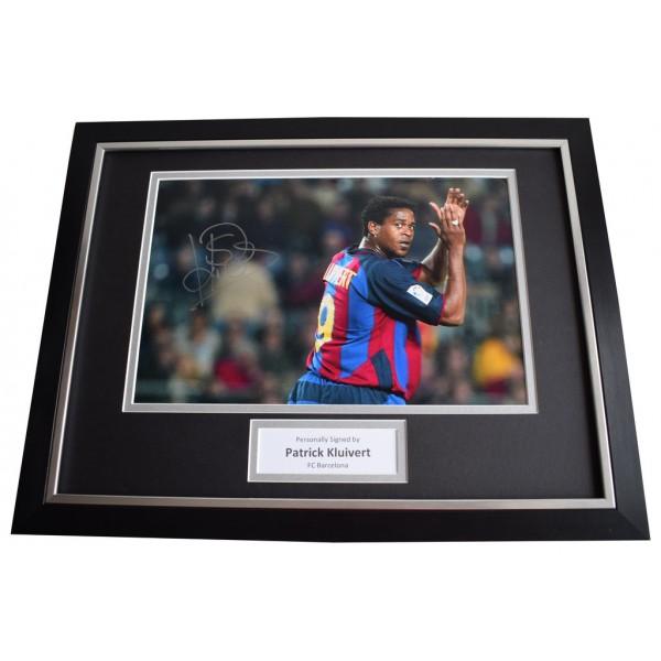 Patrick Kluivert SIGNED FRAMED Photo Autograph 16x12 display Barcelona Football Memorabilia  AFTAL & COA perfect gift