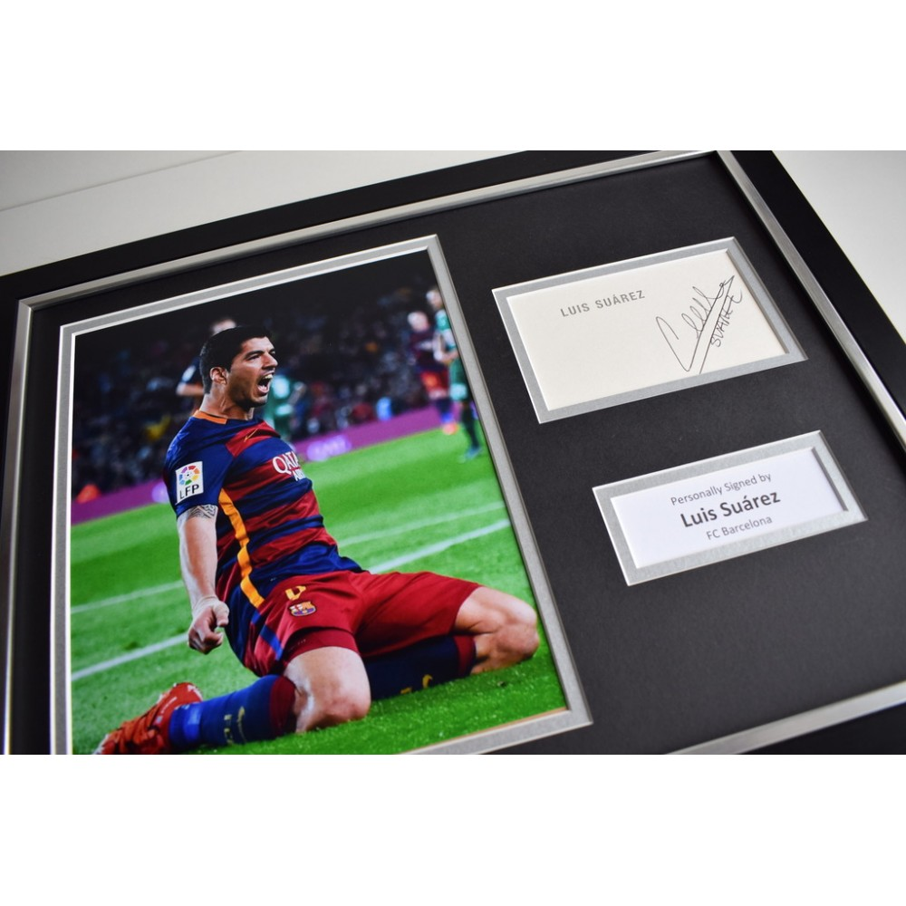 Luis Suarez Not Our C Any More: Luis Suarez SIGNED FRAMED Photo Autograph 16x12 Display