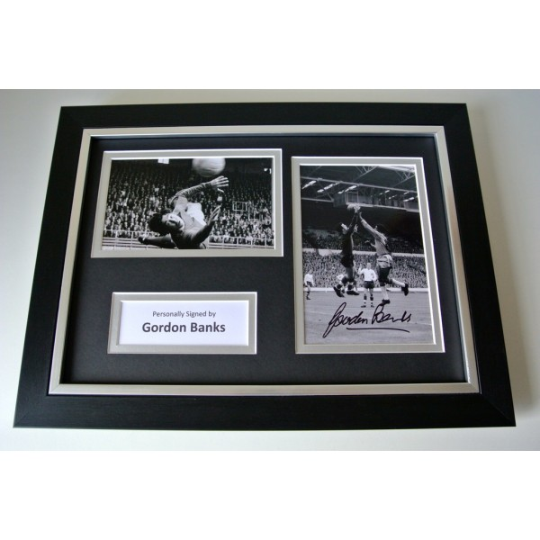 Gordon Banks Signed A4 FRAMED photo Autograph display England Stoke football COA