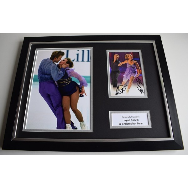 Jayne Torvill & Christopher Dean SIGNED FRAMED Photo Autograph 16x12 display  AFTAL & COA Memorabilia PERFECT GIFT