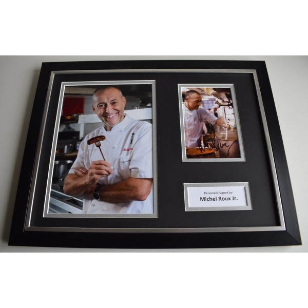 Michel Roux Jr SIGNED FRAMED Photo Autograph 16x12 display Food TV Chef AFTAL & COA Memorabilia PERFECT GIFT