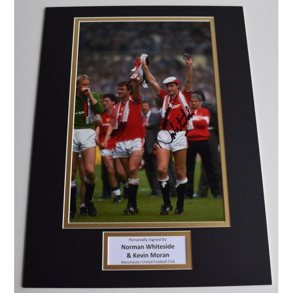 Norman Whiteside & Kevin Moran SIGNED autograph 16x12 photo display Man United  Memorabilia  AFTAL & COA perfect gift