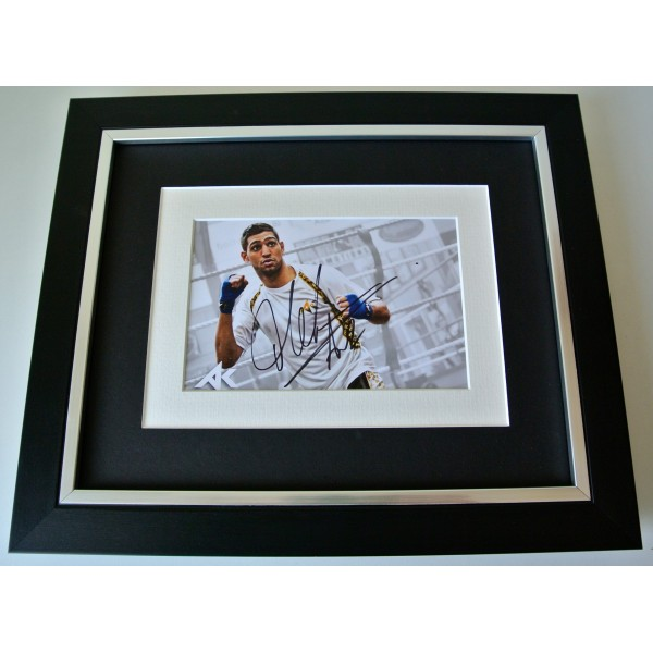 Amir Khan SIGNED 10X8 FRAMED Photo Autograph Display Boxing Champion & COA Perfect Gift