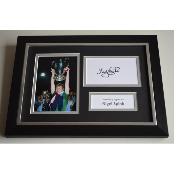 Nigel Spink Signed A4 FRAMED photo Autograph display Aston Villa  AFTAL & COA Memorabilia PERFECT GIFT