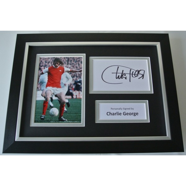 Charlie George Signed A4 FRAMED photo Autograph display Arsenal  AFTAL & COA Memorabilia PERFECT GIFT