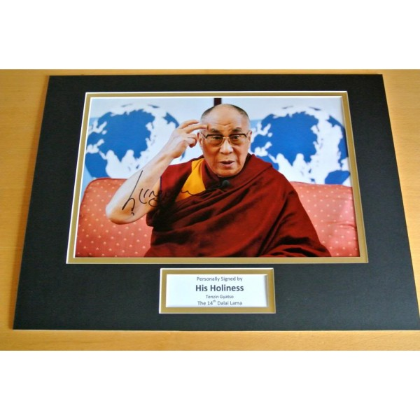 DALAI LAMA SIGNED AUTOGRAPH 16x12 PHOTO DISPLAY TENZIN GYATSO