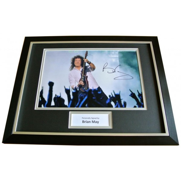 BRIAN MAY SIGNED & FRAMED AUTOGRAPH PHOTO MOUNT DISPLAY QUEEN ROCK SEE PROOF COA