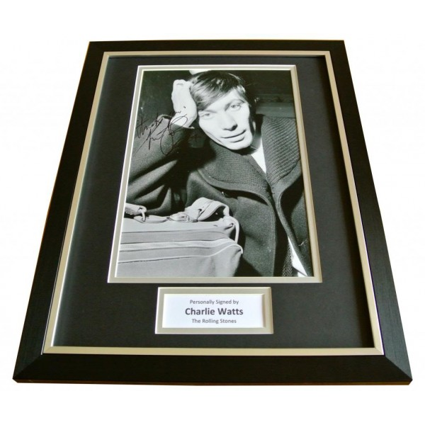 CHARLIE WATTS SIGNED & FRAMED AUTOGRAPH PHOTO MOUNT DISPLAY ROLLING STONES ROCK