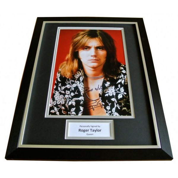 ROGER TAYLOR SIGNED & FRAMED AUTOGRAPH PHOTO MOUNT DISPLAY QUEEN DRUMS & COA