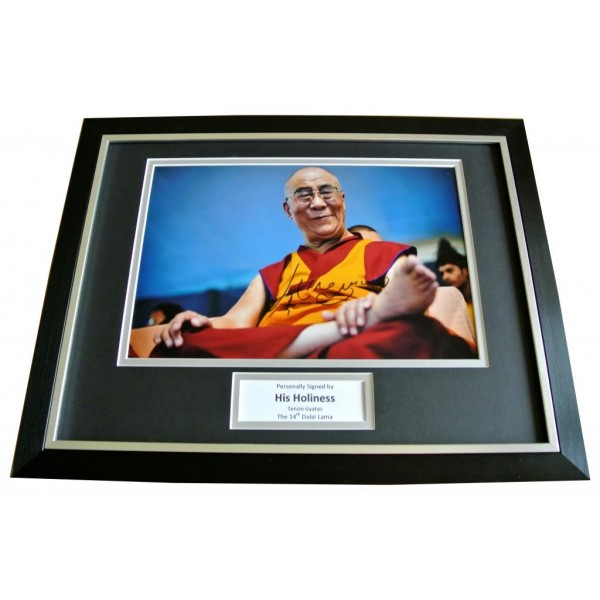DALAI LAMA SIGNED & FRAMED AUTOGRAPH PHOTO MOUNT DISPLAY & COA TENZIN GYATSO