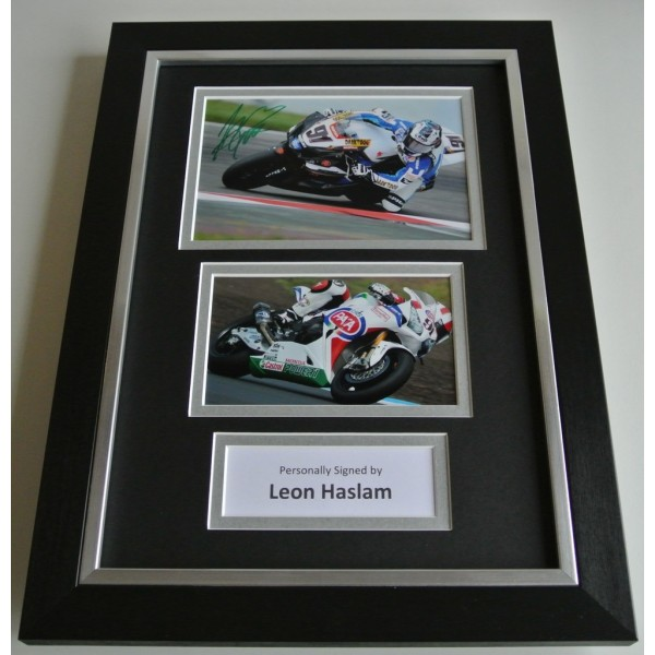 Leon Haslam SIGNED A4 FRAMED Photo Autograph Display Superbike racing COA AFTAL SPORT Memorabilia PERFECT GIFT