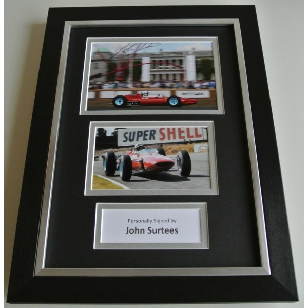 John Surtees SIGNED A4 FRAMED Photo Autograph Display Formula 1 Racing & COA AFTAL SPORT Memorabilia PERFECT GIFT