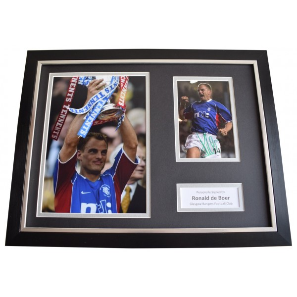 Ronald de Boer SIGNED FRAMED Photo Autograph 16x12 display Rangers Memorabilia  AFTAL & COA perfect gift