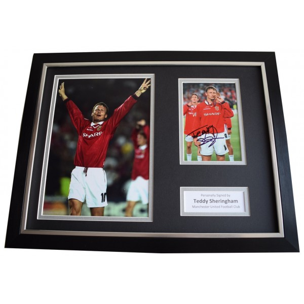 Teddy Sheringham SIGNED FRAMED Photo Autograph 16x12 display Manchester United  Memorabilia  AFTAL & COA perfect gift