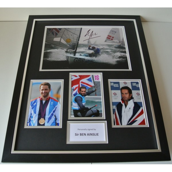 Ben Ainslie SIGNED FRAMED Photo Autograph Huge display Olympic Sailing & COA Perfect Gift