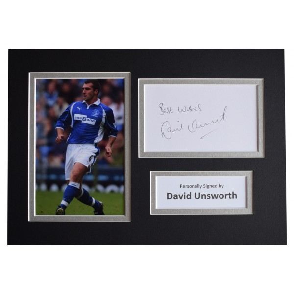 David Unsworth Signed Autograph A4 photo mount display Everton Football  AFTAL  COA Memorabilia PERFECT GIFT
