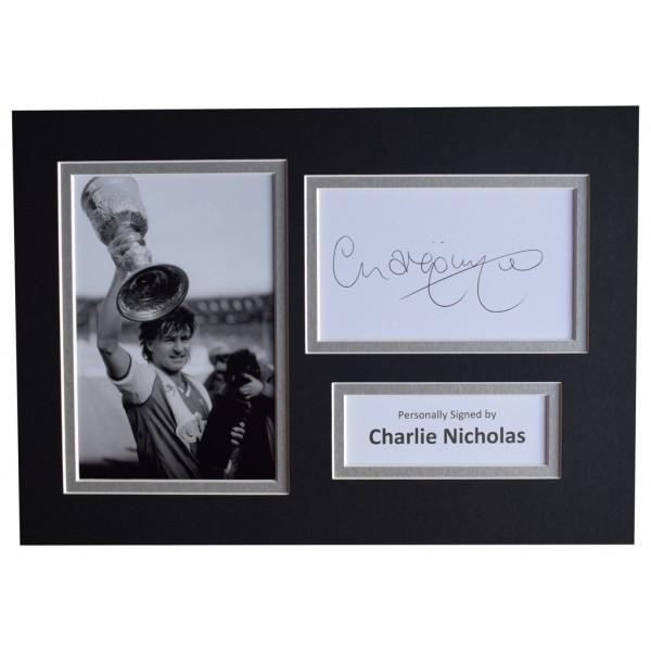 Charlie Nicholas Signed Autograph A4 photo mount display Arsenal Football   AFTAL  COA Memorabilia PERFECT GIFT