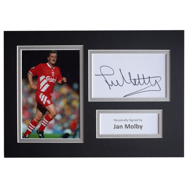 Jan Molby Signed Autograph A4 photo mount display Liverpool Football AFTAL  COA Memorabilia PERFECT GIFT