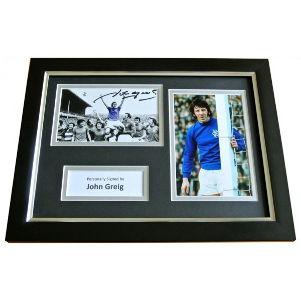 John Greig Signed A4 FRAMED Photo Autograph Display Rangers See PROOF & COA PERFECT GIFT
