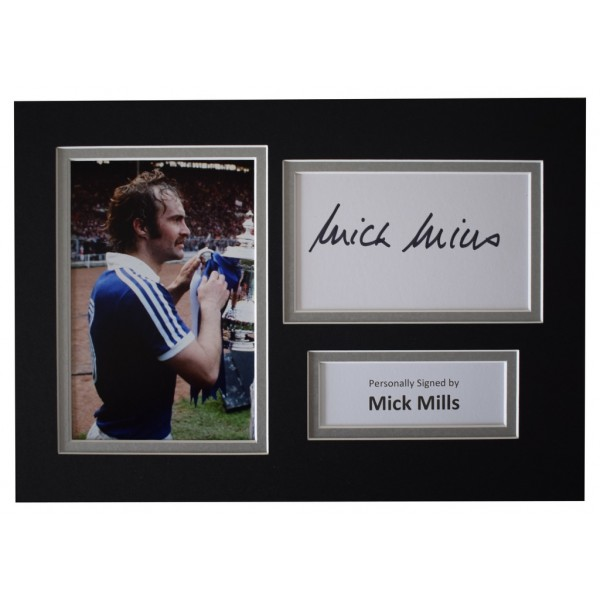 Mick Mills Signed Autograph A4 photo display Ipswich Town Football  AFTAL  COA Memorabilia PERFECT GIFT