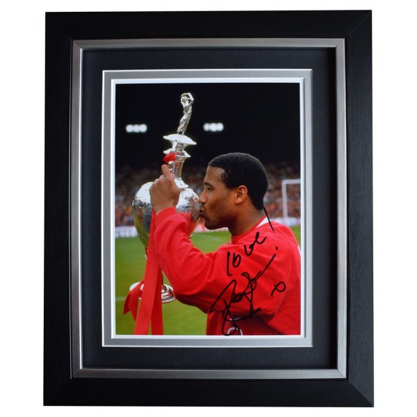 John Barnes SIGNED 10x8 FRAMED Photo Autograph Display Liverpool Football AFTAL  COA Memorabilia PERFECT GIFT