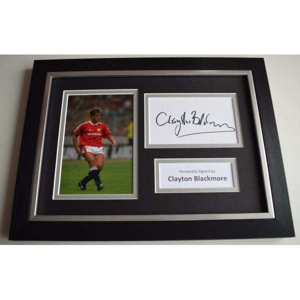 Clayton Blackmore Signed A4 FRAMED photo Autograph display Manchester United  COA & AFTAL Memorabilia   perfect gift