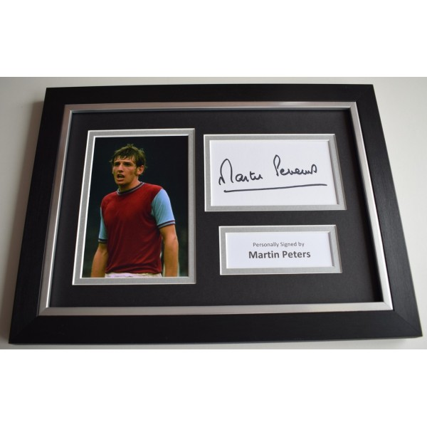 Martin Peters Signed A4 FRAMED photo Autograph display West Ham United   COA & AFTAL Memorabilia   perfect gift