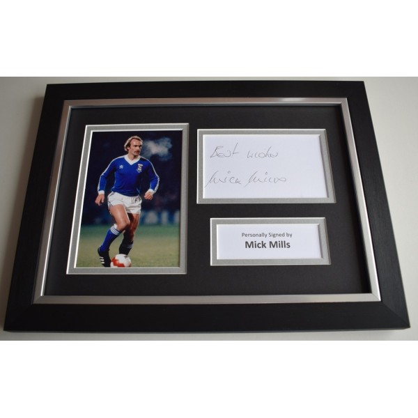 Mick Mills Signed A4 FRAMED photo Autograph display Ipswich Town Football  COA & AFTAL Memorabilia   perfect gift