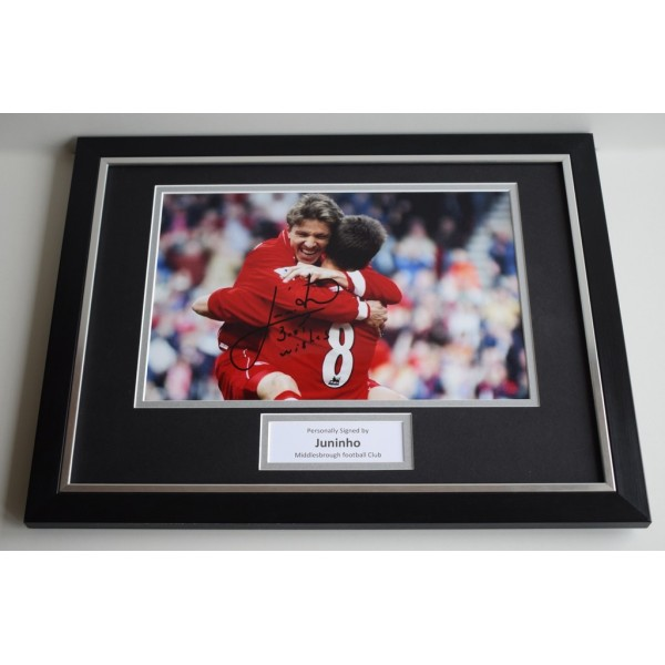 Juninho SIGNED FRAMED Photo Autograph 16x12 display Middlesbrough Football  AFTAL & COA Memorabilia PERFECT GIFT