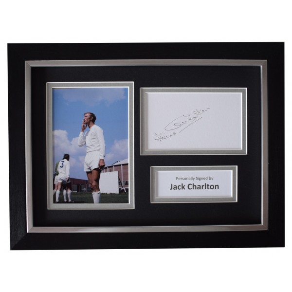 Jack Charlton SIGNED A4 FRAMED Autograph Photo Display Leeds United  AFTAL  COA Memorabilia PERFECT GIFT