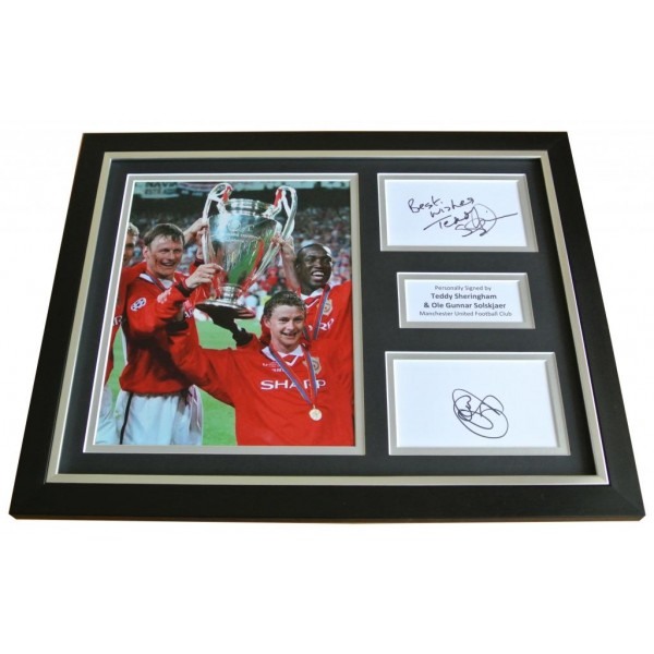 Ole Solskjaer & Teddy Sheringham Signed & FRAMED Photo Autograph Display & COA         PERFECT GIFT