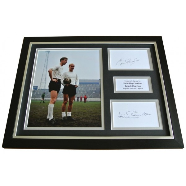 Bobby & Jack Charlton Signed & FRAMED Photo Autograph Display England & COA             PERFECT GIFT