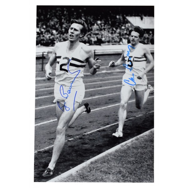 Roger Bannister & Chris Chataway SIGNED 12x8 Photo Autograph 4 Minute Mile AFTAL  COA Memorabilia PERFECT GIFT