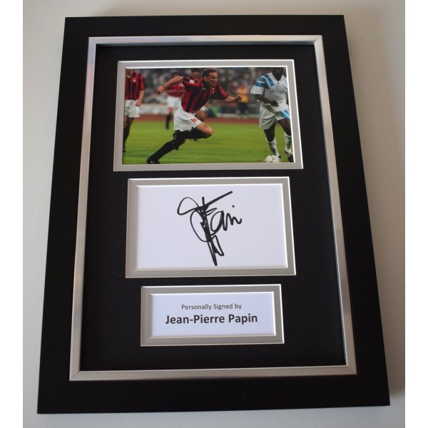 Jean-Pierre Papin Signed A4 FRAMED photo Autograph display AC Milan AFTAL & COA Memorabilia   perfect gift