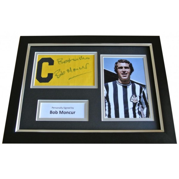 Bob Moncur Signed FRAMED Captains Armband Photo A4 Display Newcastle Utd & COA PERFECT GIFT
