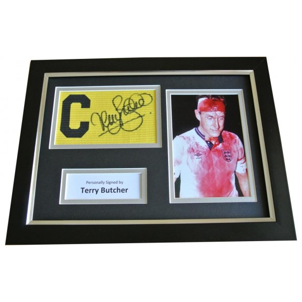Terry Butcher Signed FRAMED Captains Armband Photo A4 Display England & COA PERFECT GIFT
