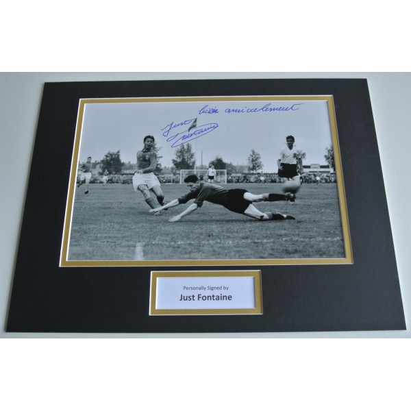 Just Fontaine SIGNED autograph 16x12 photo mount display France Football & COA AFTAL Memorabilia PERFECT GIFT