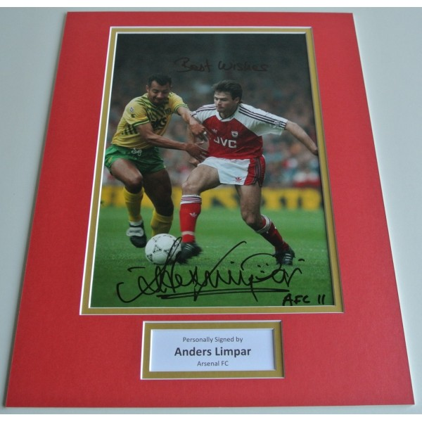 Anders Limpar SIGNED autograph 16x12 photo mount display Arsenal Football & COA AFTAL Memorabilia PERFECT GIFT