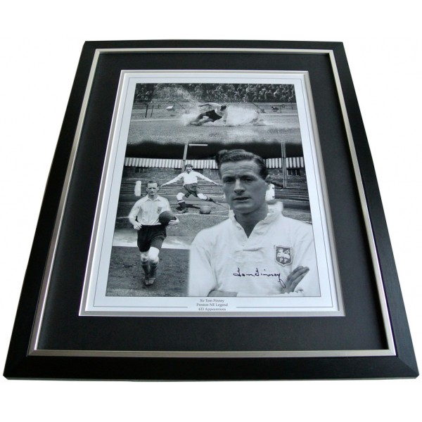 Tom Finney SIGNED FRAMED Huge Photo Autograph display PNE Preston North End COA AFTAL Memorabilia PERFECT GIFT