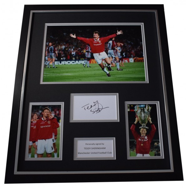 Teddy Sheringham SIGNED Framed Photo Autograph Huge display Manchester United  AFTAL  COA Memorabilia PERFECT GIFT