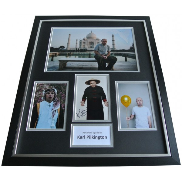 Karl Pilkington SIGNED FRAMED Huge Photo Autograph display An Idiot Abroad COA AFTAL Memorabilia PERFECT GIFT