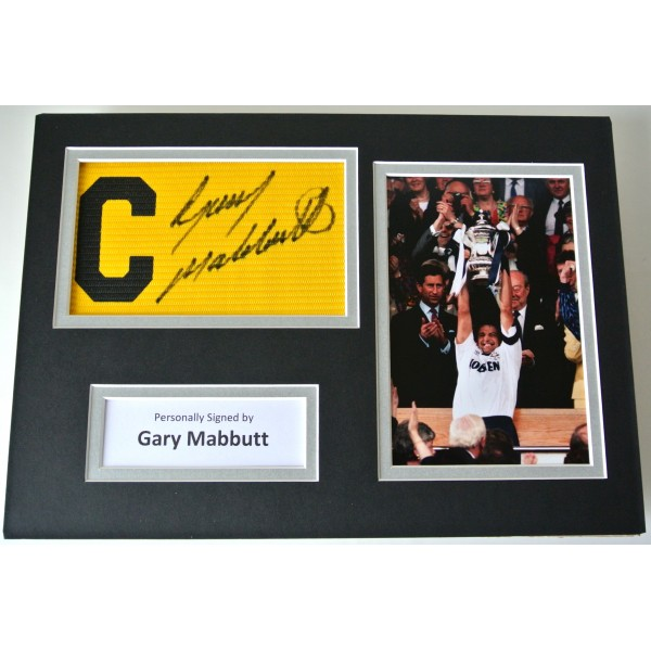 Gary Mabbutt Signed Captains Armband A4 photo display Tottenham Hotspur PROOF Perfect Gift