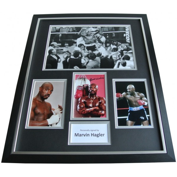 Marvelous Marvin Hagler SIGNED FRAMED Huge Photo Autograph display Boxing & COA AFTAL Memorabilia PERFECT GIFT