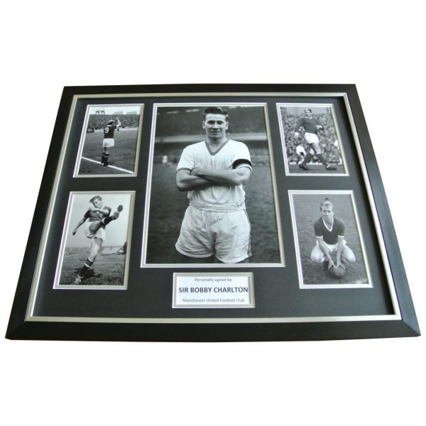 Bobby Charlton Signed FRAMED Huge Photo Autograph Display Manchester United COA        PERFECT GIFT